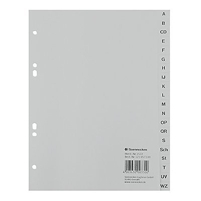 Soennecken Register 1522 DIN A5 A-Z volle Höhe PP grau