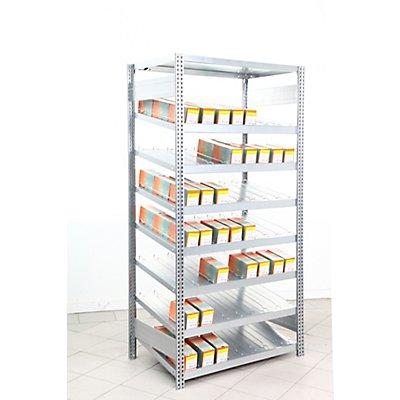 Regalwerk Kanban-Regal | Grundfeld | Stahlblech verzinkt | Fachlast 250 kg