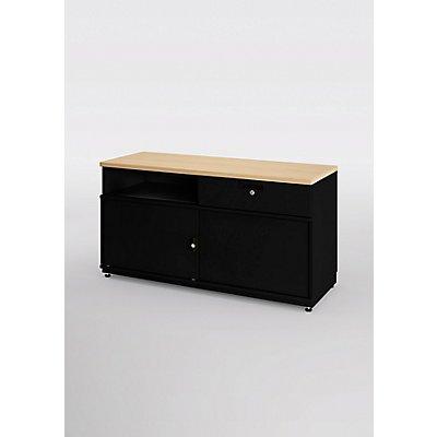 Bisley Commode Be Credenza avec un tiroir, portes coulissantes et cloison médiane - HxLxP 531 x 1000 x 440 mm
