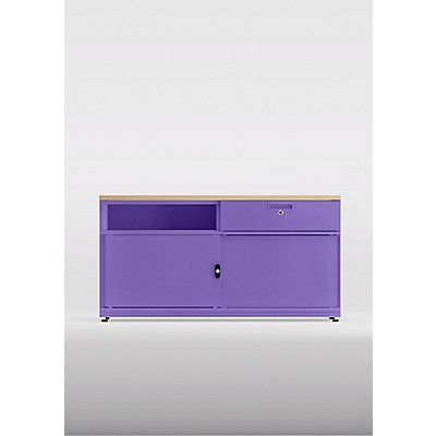 Bisley Kommode Be Credenza mit einer Schublade, Schiebetüren und Mitteltrennwand - HxBxT 531 x 1000 x 440 mm