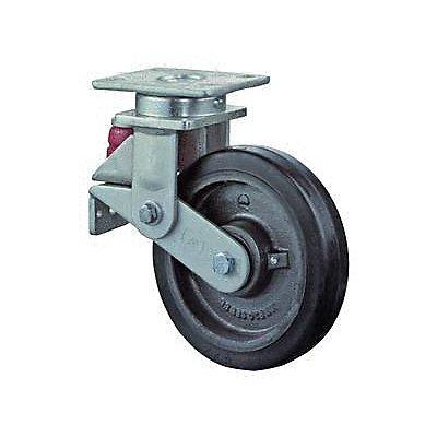 BS Rollen Gefederte Schwerlastrolle | Lauffläche: Elastik-Reifen schwarz | Radkörper: Guss | Lager: Kugellager | Lenkrolle gefedert