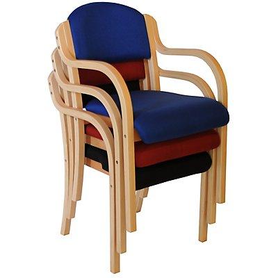 Stapelstuhl Devon mit Armlehnen - Holzgestell