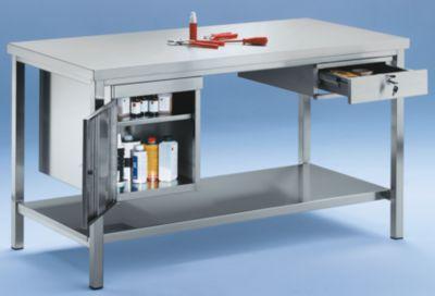 Werkbank aus Edelstahl - 1 Unterbauschrank, 1 Schublade, 1 Fachboden