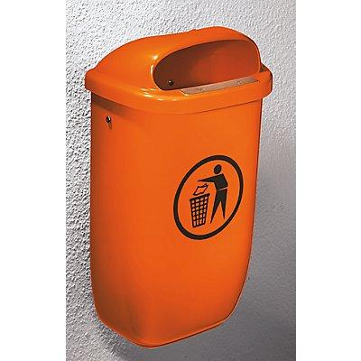 Corbeille à papier 50 l (PE) conforme à la norme DIN 30713 - avec accessoires de fixation pour montage mural ou au sol - orange