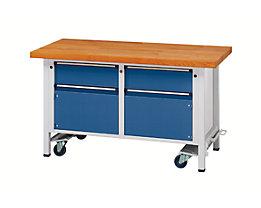 Montagewerkbank - fahrbar, mit 2 Schubladen und 2 Schränken