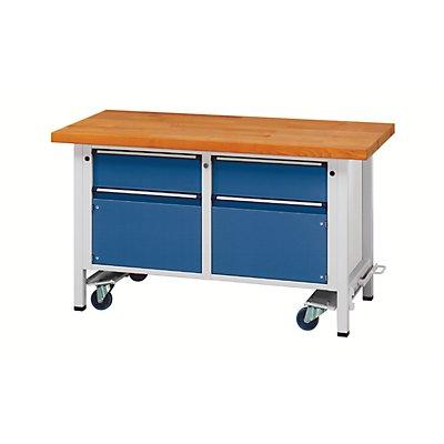 Montagewerkbank - fahrbar, mit 2 Schubladen und 2 Schränken - Breite 1500 mm
