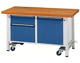Montagewerkbank - fahrbar, mit 1 Schublade und 2 Schränken