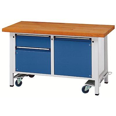 ANKE Montagewerkbank - fahrbar, mit 1 Schublade und 2 Schränken - Breite 1500 mm