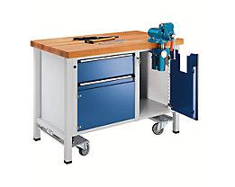 Montagewerkbank - fahrbar, mit 1 Schublade und Schraubstock