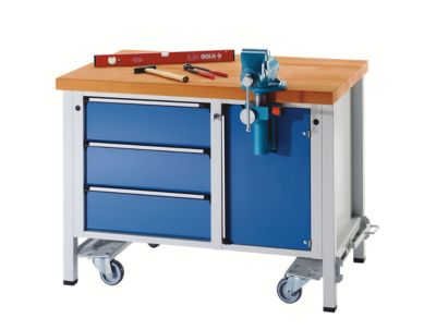 Montagewerkbank - fahrbar, mit 3 Schubladen und Schraubstock - Breite 1270 mm