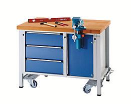 Montagewerkbank - fahrbar, mit 3 Schubladen und Schraubstock