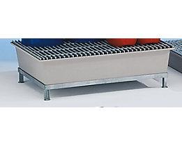 Piétement en acier pour cuve de rétention en polyester armé de fibre de verre - dimensions L x l x h 1280 x 850 x 270 mm - pour cuves avec 2 fûts, galvanisé