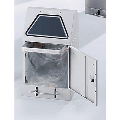 stumpf System-Wertstoffsammler, Einwurfklappe fußbetätigt - mit ausziehbarer Abfallsackhalterung - Volumen ca. 45 l, Edelstahl