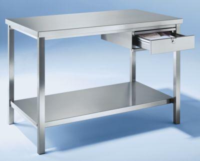 Werkbank aus Edelstahl - 1 Schublade, 1 Fachboden voll