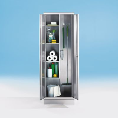 Edelstahlschrank - Putzmittelschrank - 4 Fachböden links, 2 Gerätehaken rechts