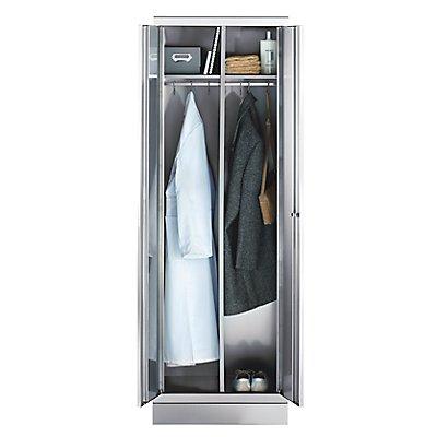 Edelstahlschrank - Kleiderschrank - je 1 Hutboden, 1 Kleiderstange, 3 Haken