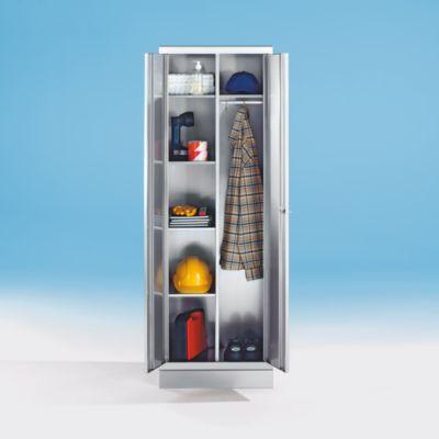 Edelstahlschrank - Wäscheschrank - 4 Fachböden, 1 Hutboden, Kleiderstange mit 3 Haken