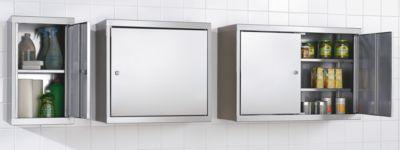 Hängeschrank aus Edelstahl - HxBxT 600 x 900 x 320 mm, 2 Fachböden