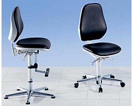 bimos Chaise d'atelier pour salles blanches - avec patins et repose-pieds