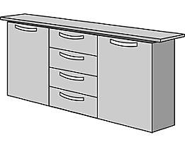office akktiv STATUS Armoire basse - 2 portes, 4 tiroirs, h x l x p 860 x 1500 x 400 mm