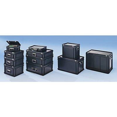 ESD-Kunststoffkoffer - Inhalt 30 l, Außenmaß LxBxH 600 x 400 x 185 mm