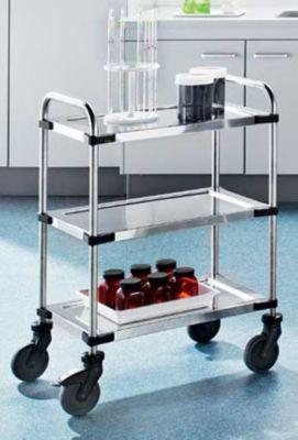 Edelstahl-Tischwagen VARITHEK SERVO+ - 3 Etagen, Ladefläche 630 x 400 mm - Tragfähigkeit 150 kg
