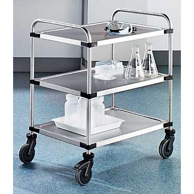 Edelstahl-Tischwagen VARITHEK SERVO+ - 3 Etagen, Ladefläche 800 x 500 mm - Tragfähigkeit 150 kg
