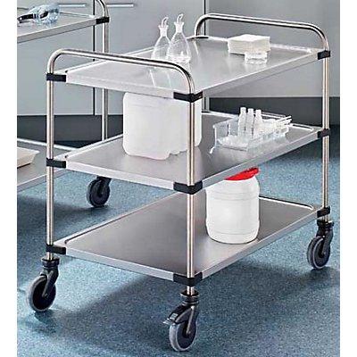 Edelstahl-Tischwagen VARITHEK SERVO+ - 3 Etagen, Ladefläche 1000 x 600 mm - Tragfähigkeit 150 kg