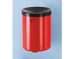 Sicherheits-Wandascher, 6 l Fassungsvermögen - Höhe 250 mm, Ø 180 mm, mit Zylinderschloss - Stahlblech pulverbeschichtet, rot