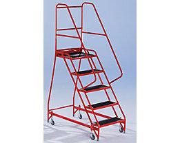Escalier de sécurité mobile - avec garde-corps des deux côtés, 5 marches