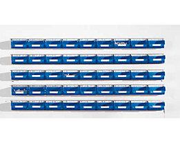 Einhängeschienen-Set mit Sichtlagerkästen - 5 Schienen, 45 Kästen