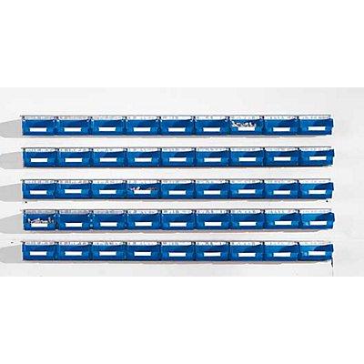 Plastipol-Scheu Einhängeschienen-Set mit Sichtlagerkästen - 5 Schienen, 45 Kästen