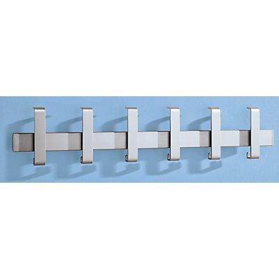 Wandgarderobenleiste - Einzelgarderobe - 6 Haken, alufarben RAL 9006