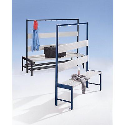 Melzer Metallbau Garderobenbank mit Hakenleiste und Kunststoffleisten - ohne Schuhrost, einseitig, 2000 mm, 10 Haken