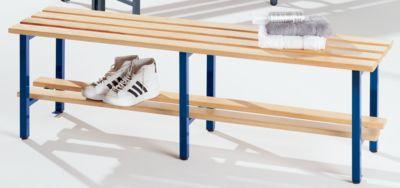Garderobenbank mit Holzleisten, ohne Lehne - mit Schuhrost, Länge 2000 mm