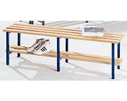 Banc de vestiaires à lattes en bois, sans dossier - avec grille pour chaussures, longueur 1500 mm