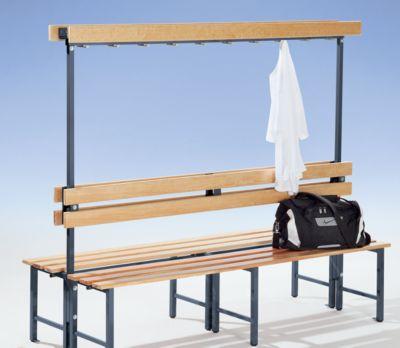 Garderobenbank mit Hakenleiste und Holzleisten - ohne Schuhrost, beidseitig, Länge 1500 mm, 14 Haken