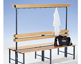 Garderobenbank mit Hakenleiste und Holzleisten - ohne Schuhrost, beidseitig, Länge 1500 mm, 14 Haken - Gestell kobaltblau