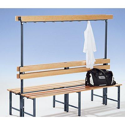 Melzer Metallbau Garderobenbank mit Hakenleiste und Holzleisten - ohne Schuhrost, einseitig, Länge 2000 mm, 10 Haken