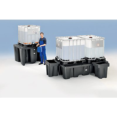 CEMO PE-Auffangwanne für Tankcontainer IBC/KTC - Kapazität 2 Container, Länge 2450 mm