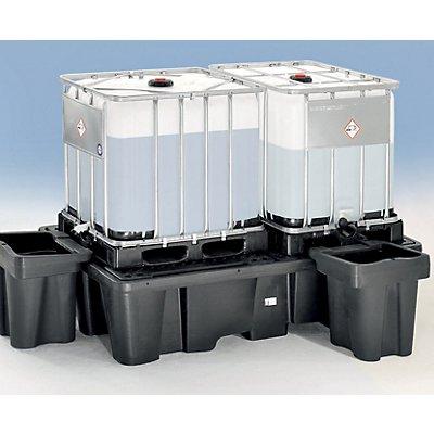 Abfüllvorsatz aus PE - LxBxH 590 x 640 x 670 mm - Auffangvolumen 100 l