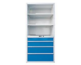 Lista Rayonnage à tiroirs - 3 tablettes universelles, 2 réglables, 4 tiroirs