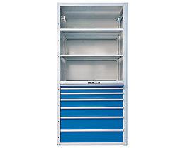 Lista Rayonnage à tiroirs - 3 tablettes universelles, 2 réglables, 7 tiroirs