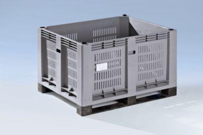 Großbehälter aus Polyethylen - Inhalt 600 l, 2 Kufen, Boden-Randöffnung