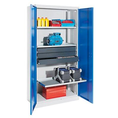 QUIPO Materialschrank - Breite 950 mm, 3 Ausziehböden, 3 Schubladen