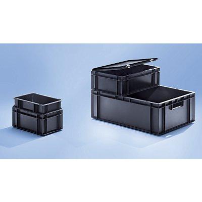 ESD-Stapelbehälter aus Polypropylen - Außen-LxBxH 600 x 400 x 210 mm - Inhalt 40 l, VE 2 Stk