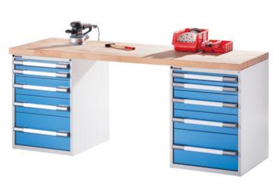 EUROKRAFT Werkbank - 2 Standcontainer je 5 Schubladen