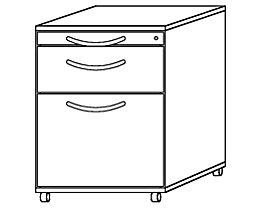 BIANCA Rollcontainer - 1 Utensilienschub, 1 Materialschub, 1 Hängeregistratur