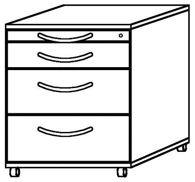 BIANCA Rollcontainer - 1 Utensilienschub, 3 Materialschübe