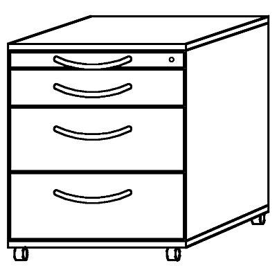 Hammerbacher BIANCA Rollcontainer - 1 Utensilienschub, 3 Materialschübe